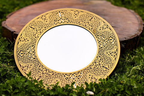 Premium Brass Mirror Islamic Art Hand Forged and Etched Antique | Oriental Geometry Patterns Wall Mirror | Islamic Brass Works