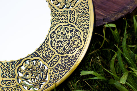 Authentic Antique Handmade Etched Brass Mirror| Egyptian Oriental Geometry Patterns Wall Mirror| Arabic Original Wall Mount| Hanging Mirror