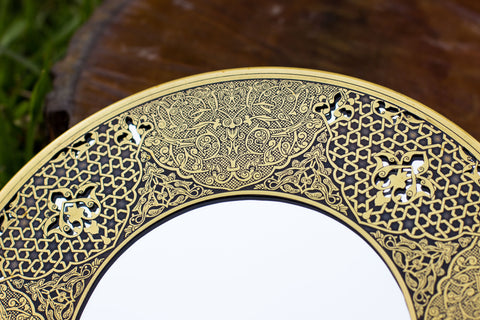 Egyptian Handmade Brass Mirror| Egyptian Art Hand Forged and Etched Antique| Oriental Geometry Patterns Wall Mirror| Hanging Wall Mirror