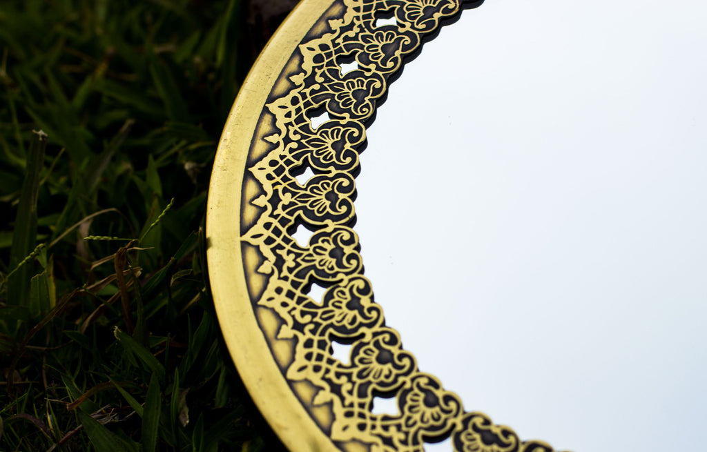 Mesmerizing Brass Mirror Islamic Art Hand Forged and Etched Antique| Oriental Geometry Patterns Wall Mirror | Islamic Geometric Brass Works