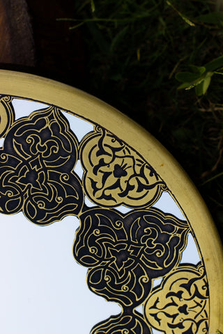 Unique Brass Mirror Islamic Art Hand Forged and Etched Antique| Oriental Geometry Patterns Wall Mirror | Islamic Geometric Brass Works