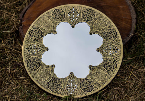 Authentic Antique Handmade Etched Brass Mirror| Oriental Design Wall Mirror| Islamic Geometric Brass Works| Hanging Mirror