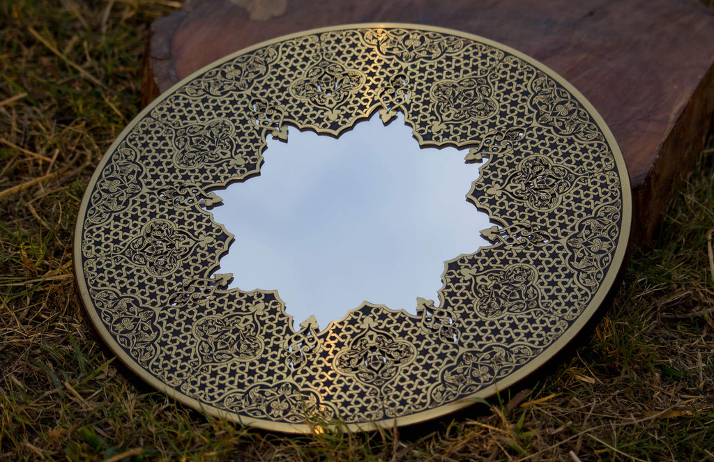 Star Shaped Mirror |Hand Forged Brass Mirror | Etched Brass Works | Oriental Geometry Patterns Wall Mirror | Islamic Brass Works