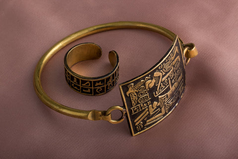 God Of Fertility in Ancient Egypt Embossed Copper Bangle/Cuff and Matching copper embossed unique Ring (Set of 2). Fertility gift set.