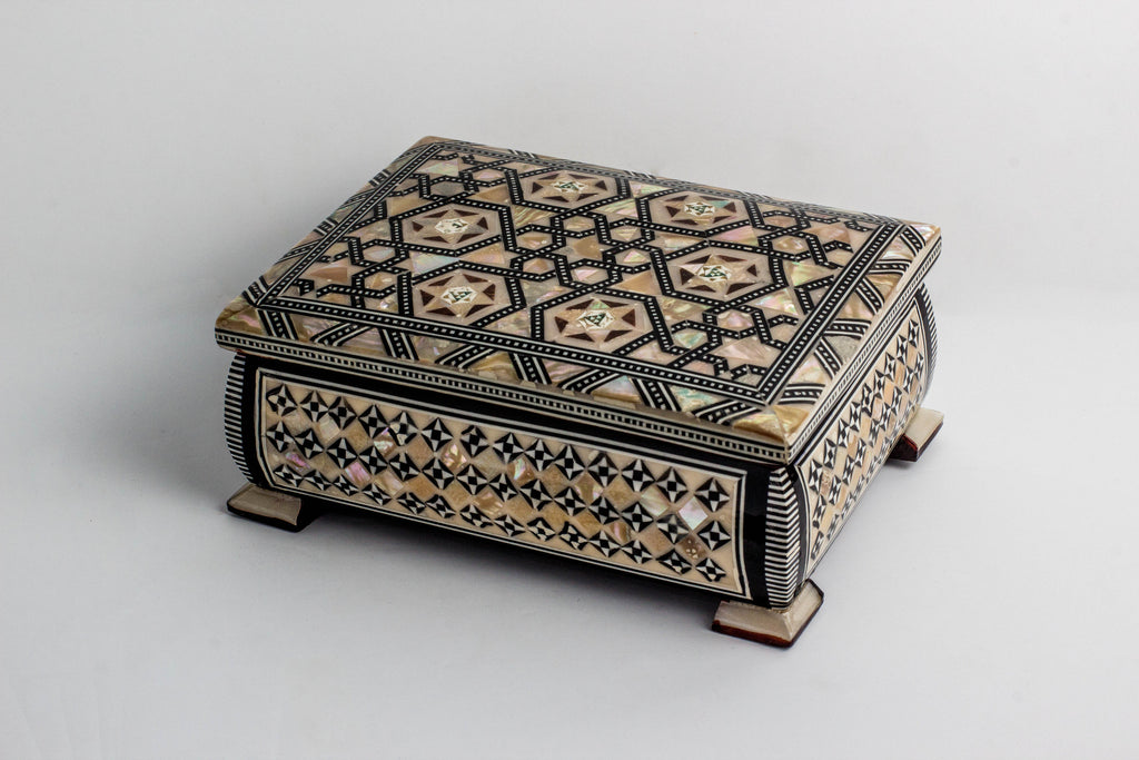 Unique Egyptian Inlaid Mother of Pearl Wooden Jewelry Islamic Box. Classic Islamic Ottoman Pattern. Vintage Treasury Box.