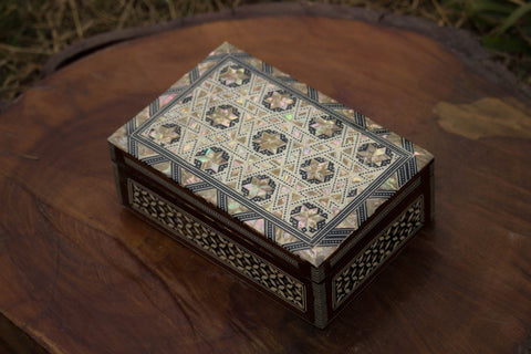 Tessellated Egyptian Inlaid Mother of Pearl Wooden Jewelry Box. Classic Islamic Ottoman Pattern. Vintage Treasury Box.