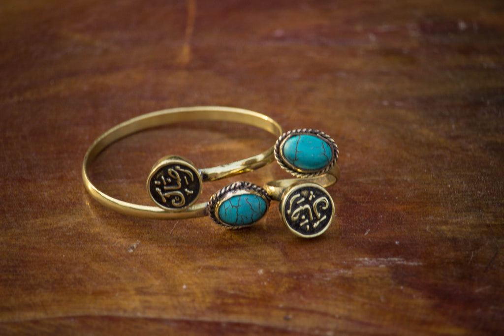 Your contentedness- Turquoise Stone Copper Egyptian Handmade Bracelet With Matching Turquoise Stone  Ring (Set of 2)