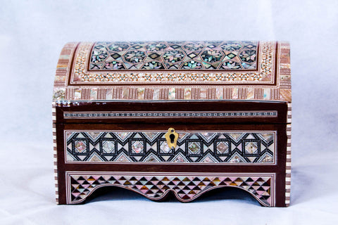 Mesmerizing Egyptian Inlaid Mother of Pearl Wooden Jewelry/Islamic Box. Vintage Treasury Box
