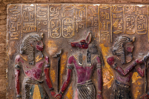 A Handcrafted painting of Tutankhamun,Anubis, Isis,Ramsis|| |Kings & Gods in an image| Hand-painted in warm colors| Highly symbolic