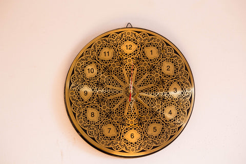 Vintage Brass Clock Islamic|Artistic Hand engraved in English Numbers | Arabian Geometric Wall Clock | Islamic  Patterns Brass Works