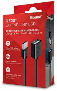 iSound USB Extend Link 6ft Cable - Black