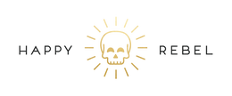 happy rebel logo sun and skull