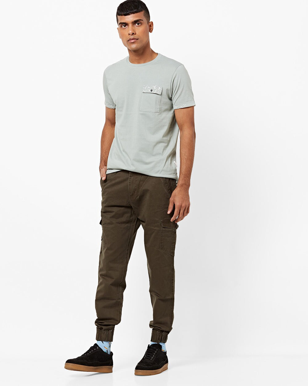 Disrupt Olive 100% Cotton Regular Fit Joggers For Men's