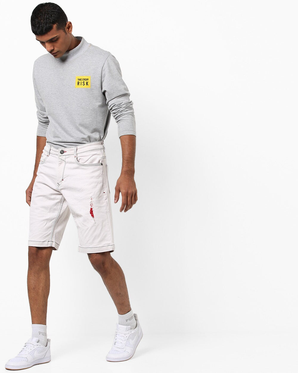 Disrupt White Regular Fit denim Shorts For Men's
