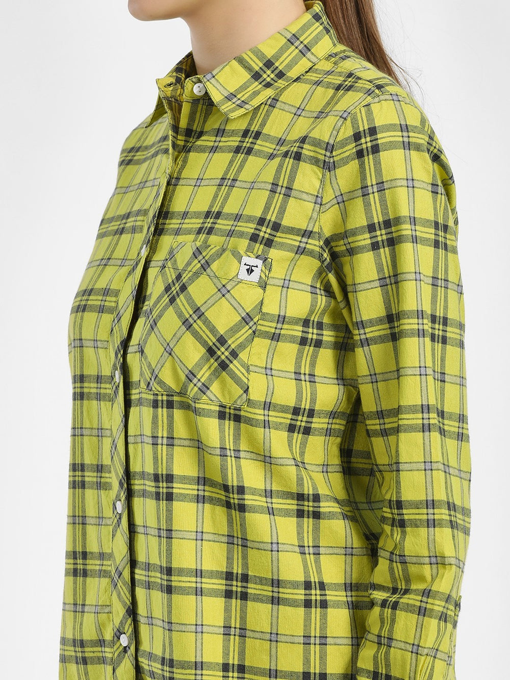 Lemon Green & Grey Cotton Fabric Checkered Regular-Fit Shirt