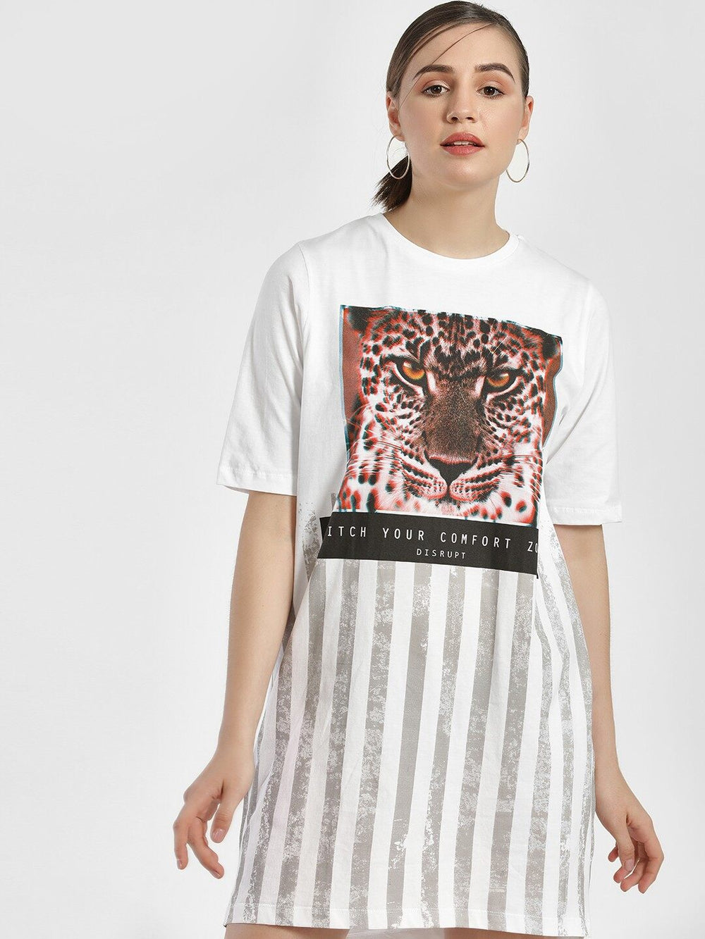 White Tiger Graphic Print Loose Sleeve Dress