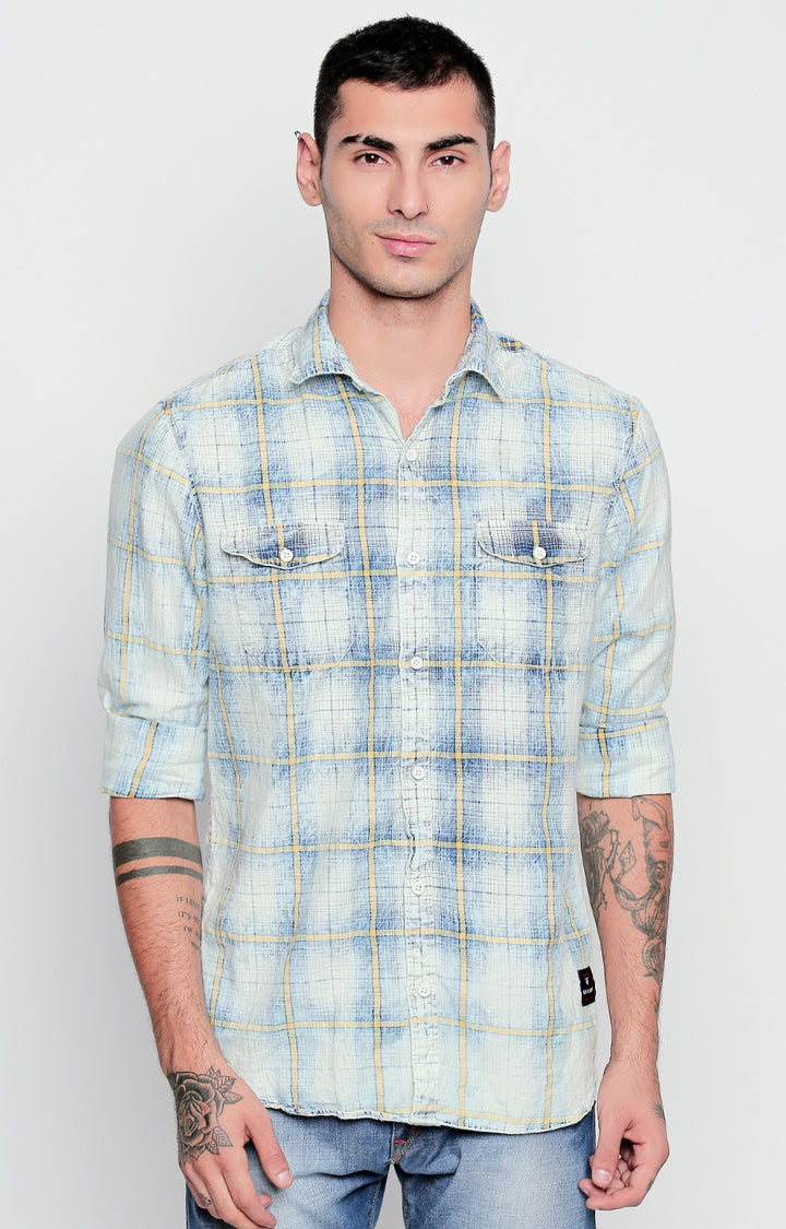 Disrupt Off White & Yellow Cotton Full Sleeve Checkered Shirt