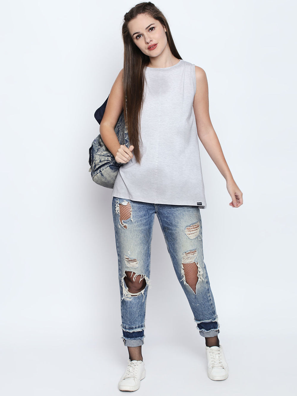 White Viscose Blend Graphic Print Tank Top