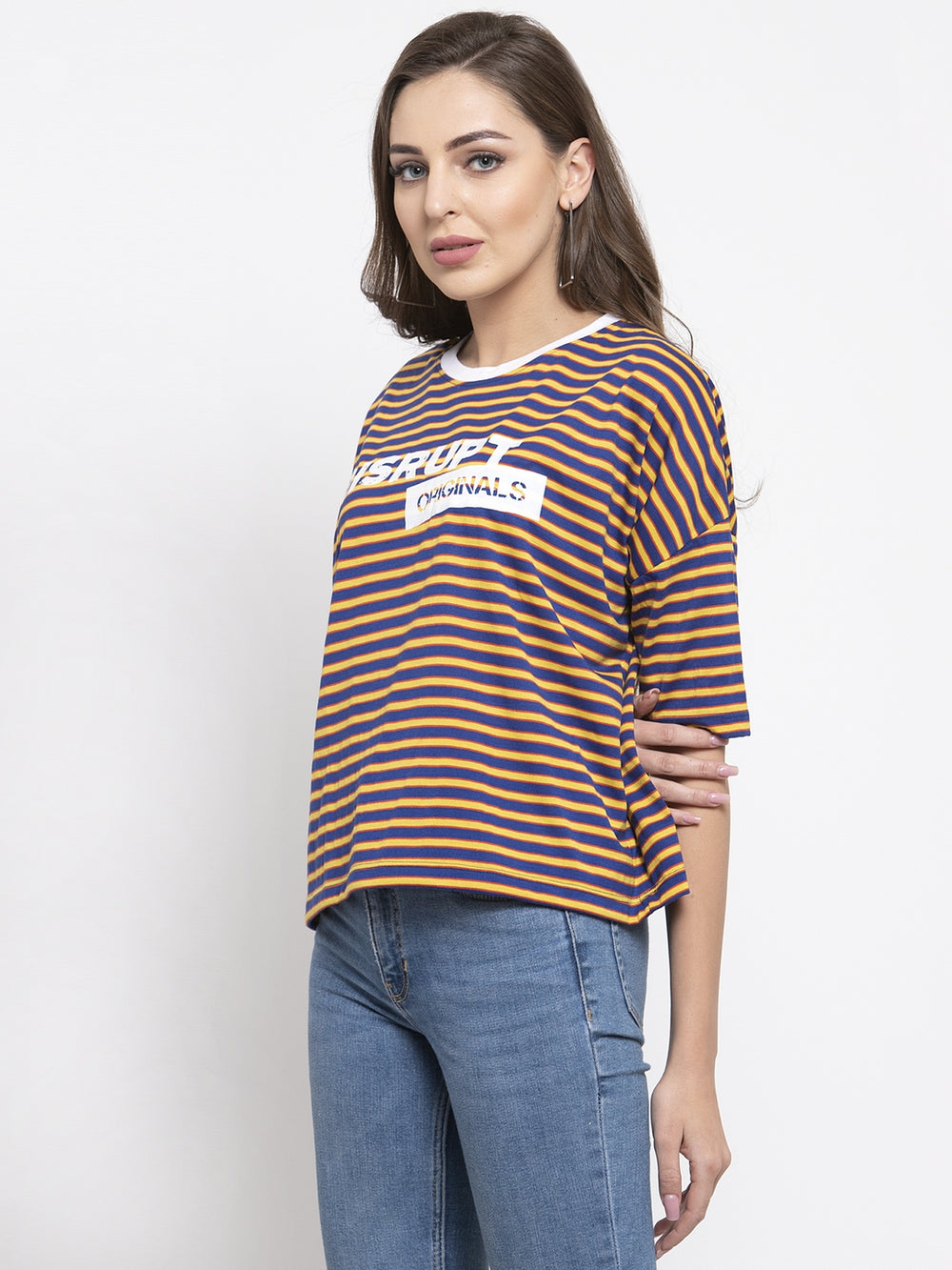 Disrupt Royal Blue Striped Boxy T-shirt