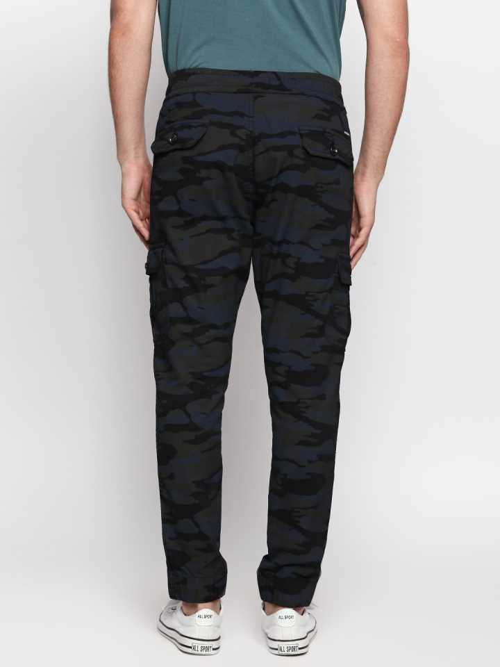 Disrupt Navy Cotton Regular Fit Joggers For Men's