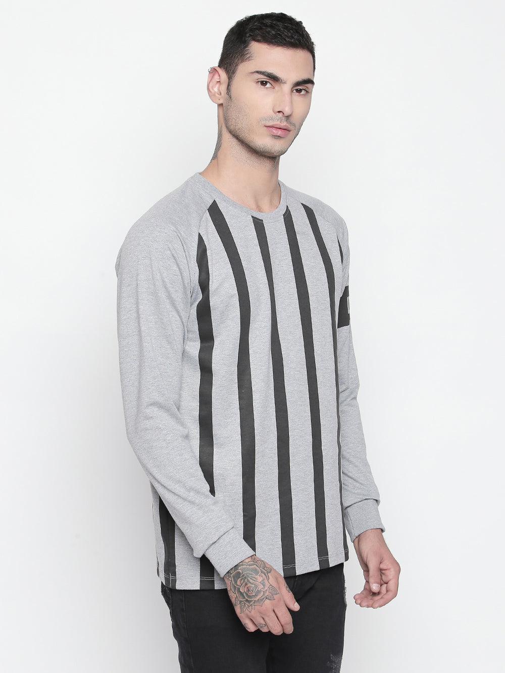 Disrupt Grey Melange Round Neck Full Sleeve T-shirt For Men