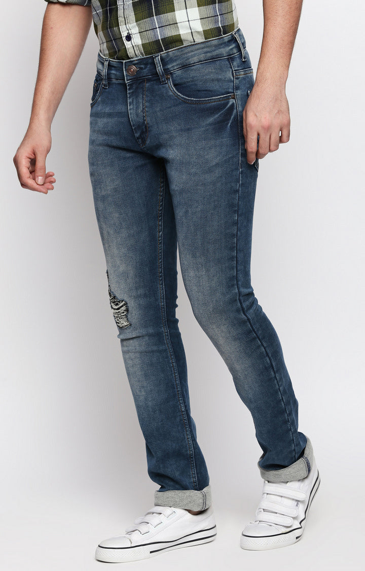 Disrupt Blue Slim Fit Stretchable Jeans For Men's