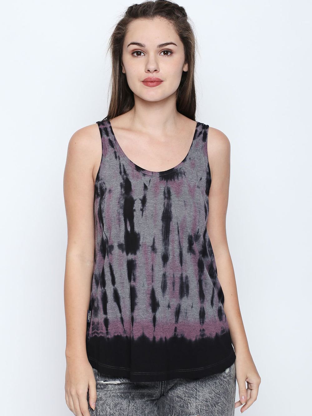 Grey N Black Dye Round Neck Tank Top