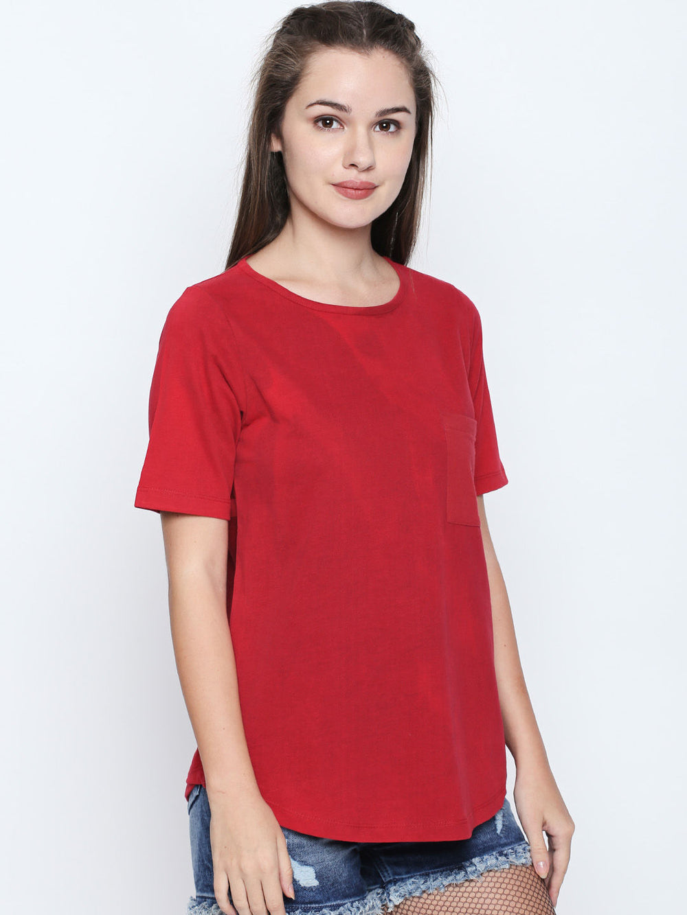 Disrupt Red Cotton Half Sleeve T-Shirt For Women's