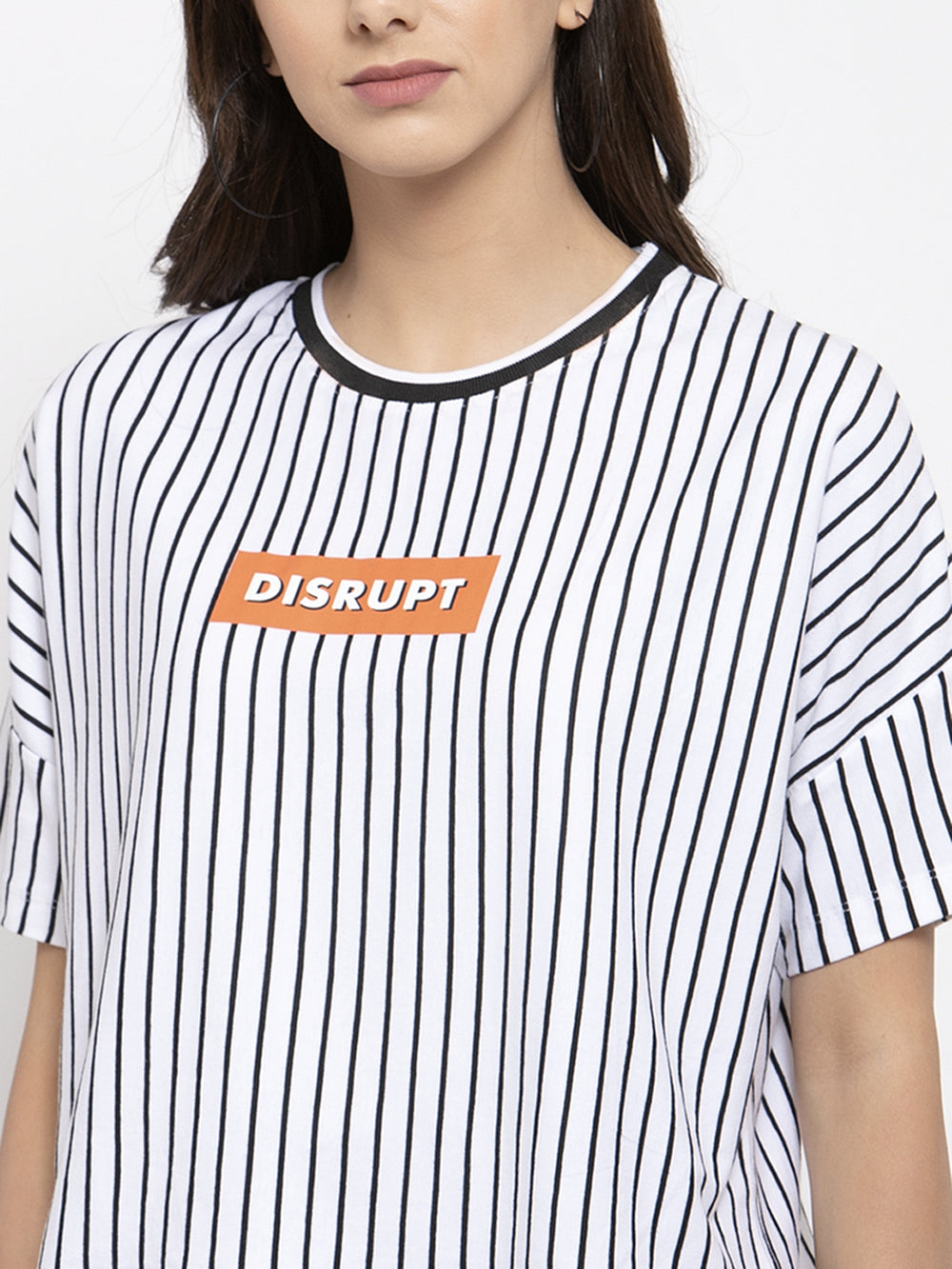 Disrupt Black and White Striped Boxy T-Shirt