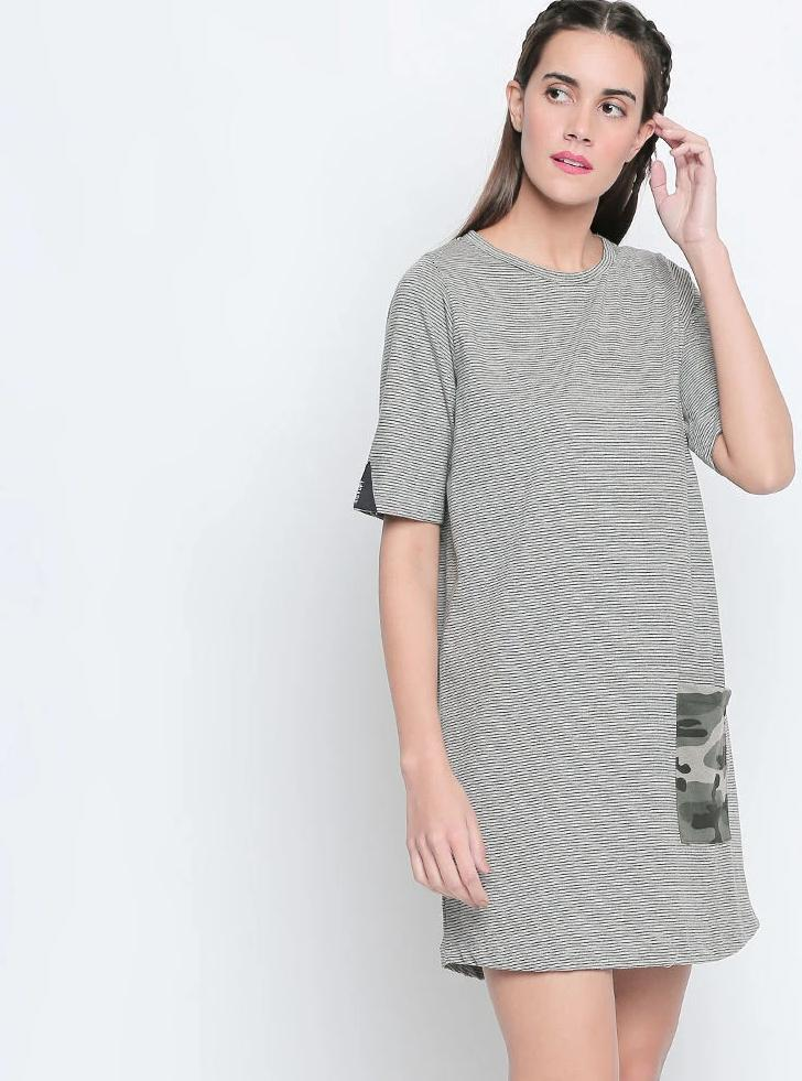 Black N White Striped Cotton Viscose Blend Boyfriend-Fit Dress