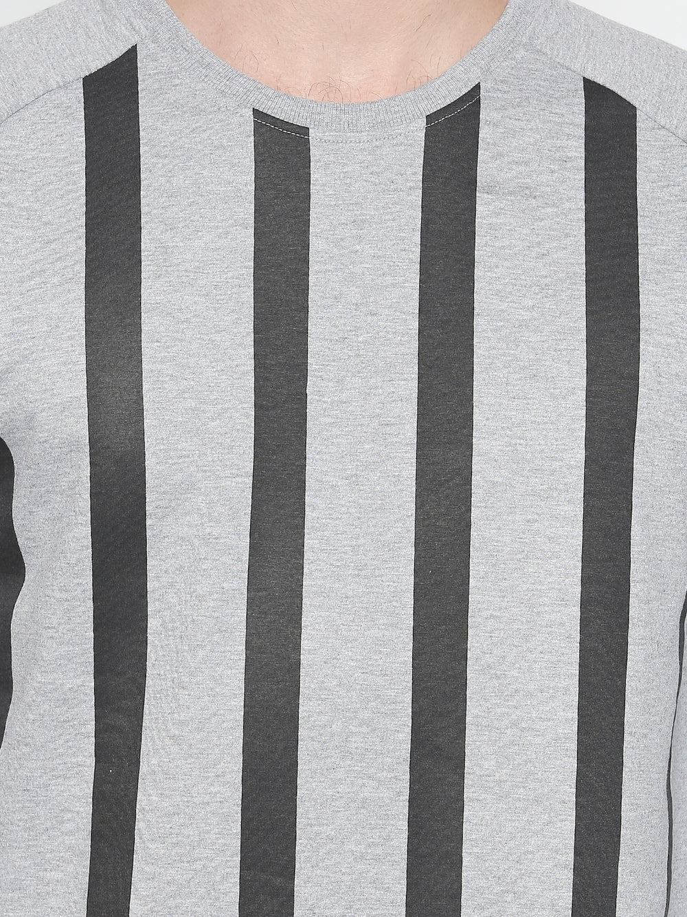 Grey Vertical striped Full sleeve T-shirt