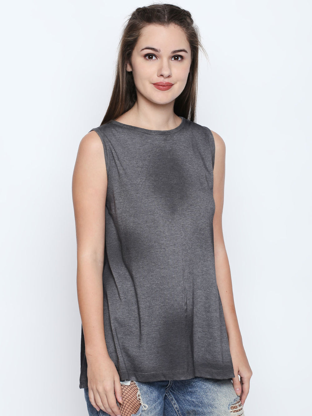 Dark Grey Melange Tank Top For Women's