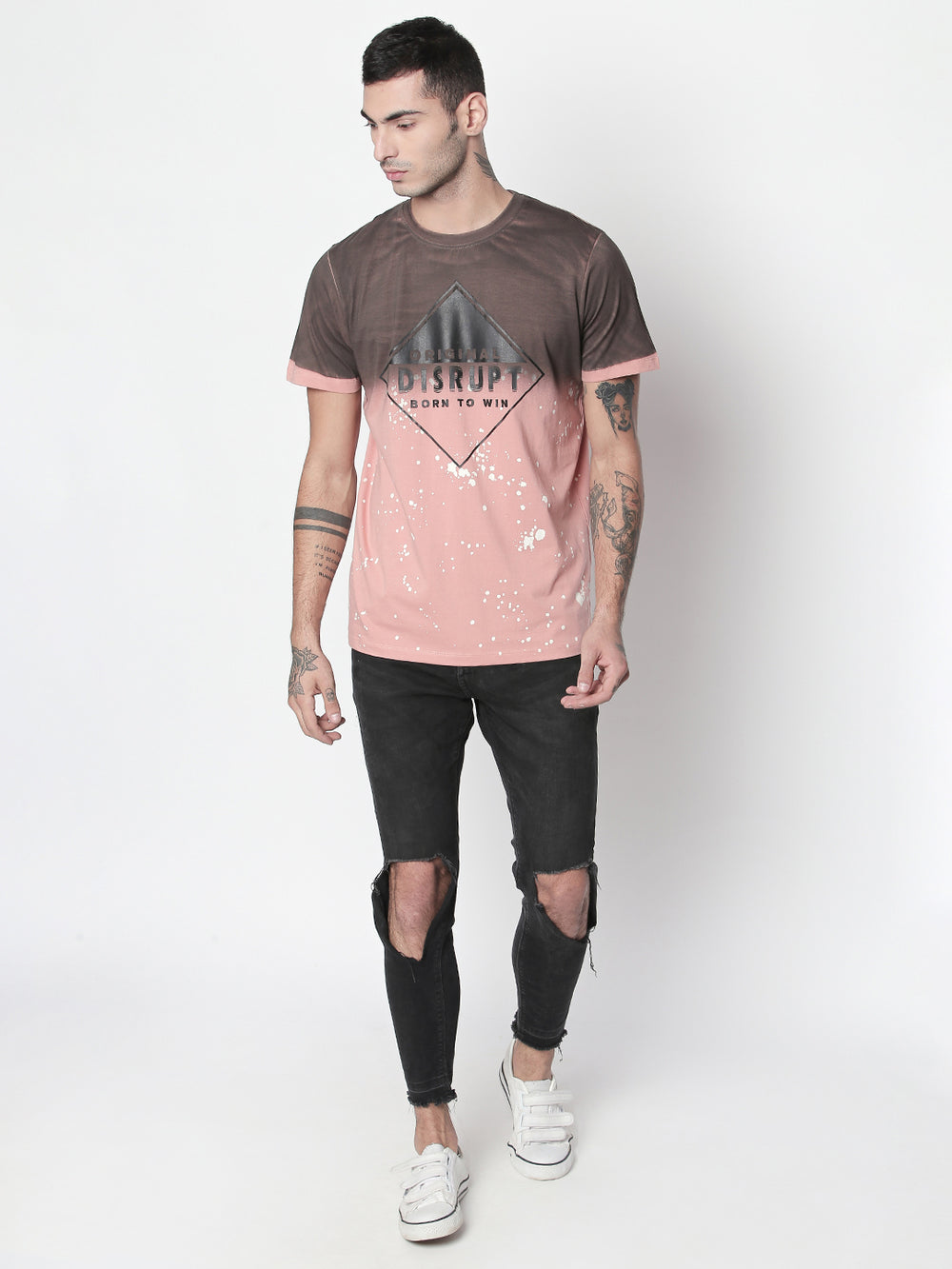 Rose Pink Disrupt Graphic Print Round Neck Half Sleeve T-shirt