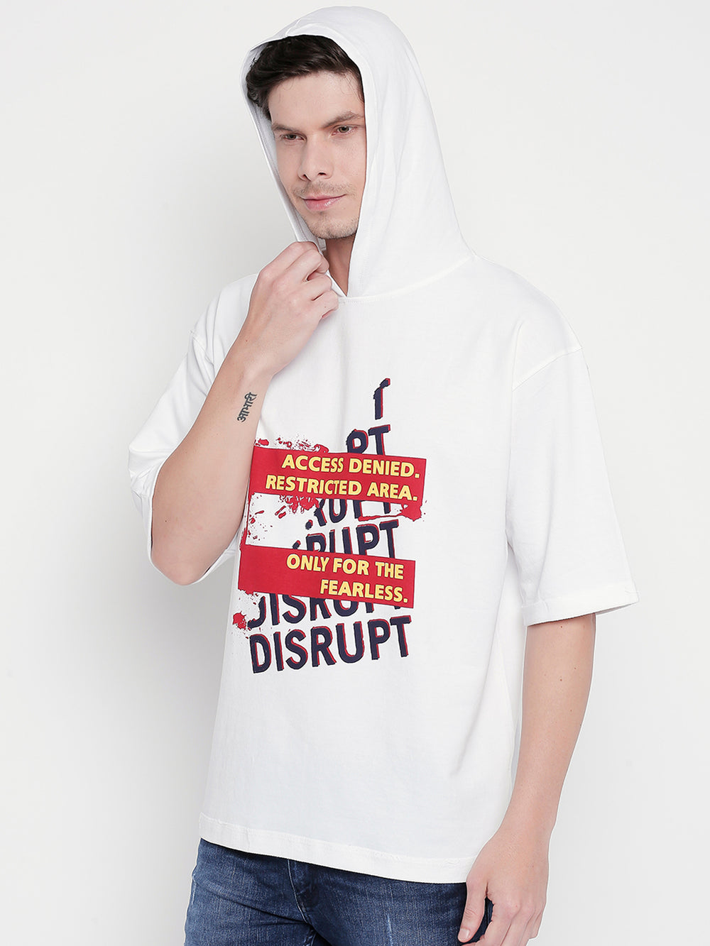 Disrupt White Graphic Print Pullover For Men's