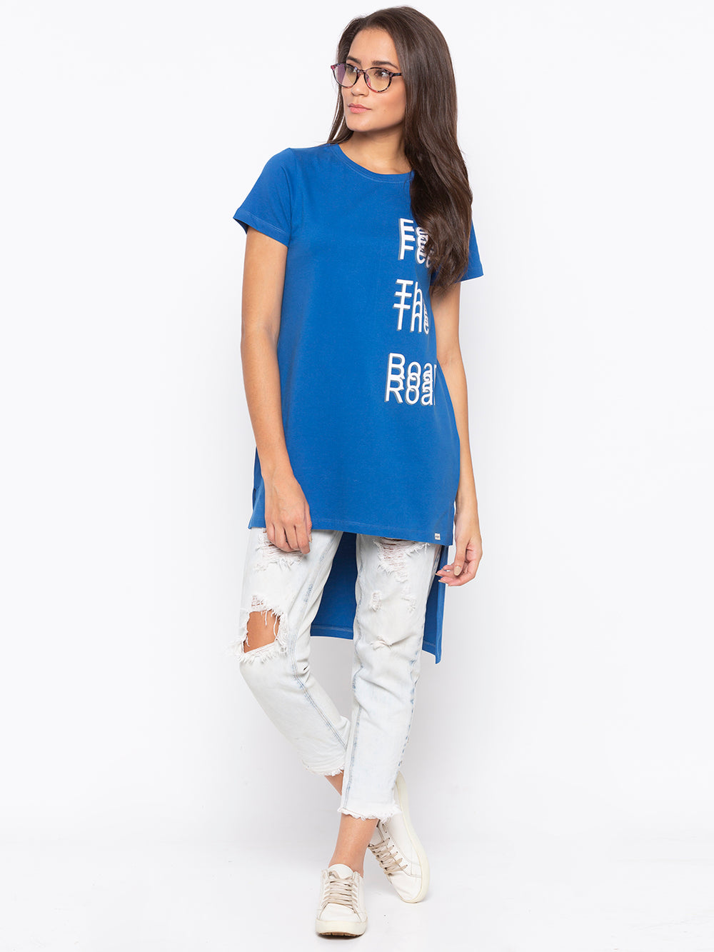 Royal Blue Feel The Roar Print High Low Top
