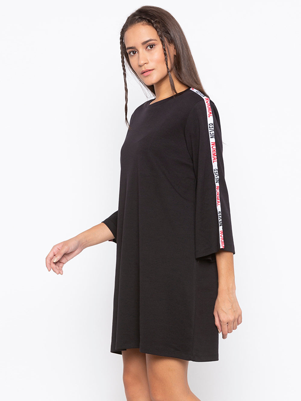 Black A-Line Tape Striped Never Normal Dress