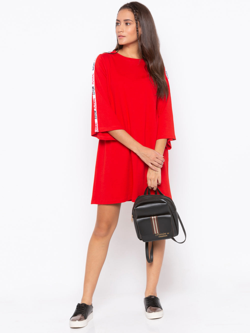 Red A-Line Tape Striped Never Normal Dress