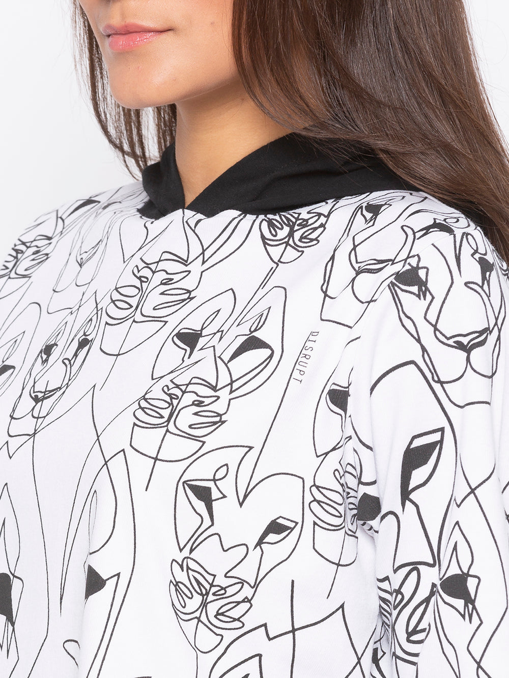 White Lioness Abstract Print Hoodie