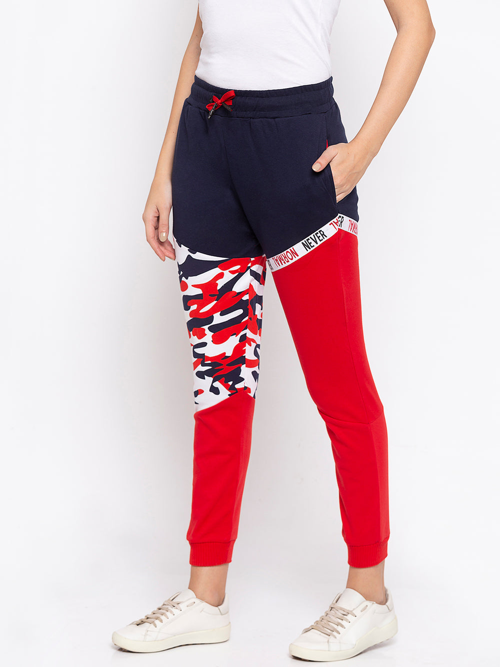 Red Camouflage Print Never Normal Taped Regular-Fit Joggers