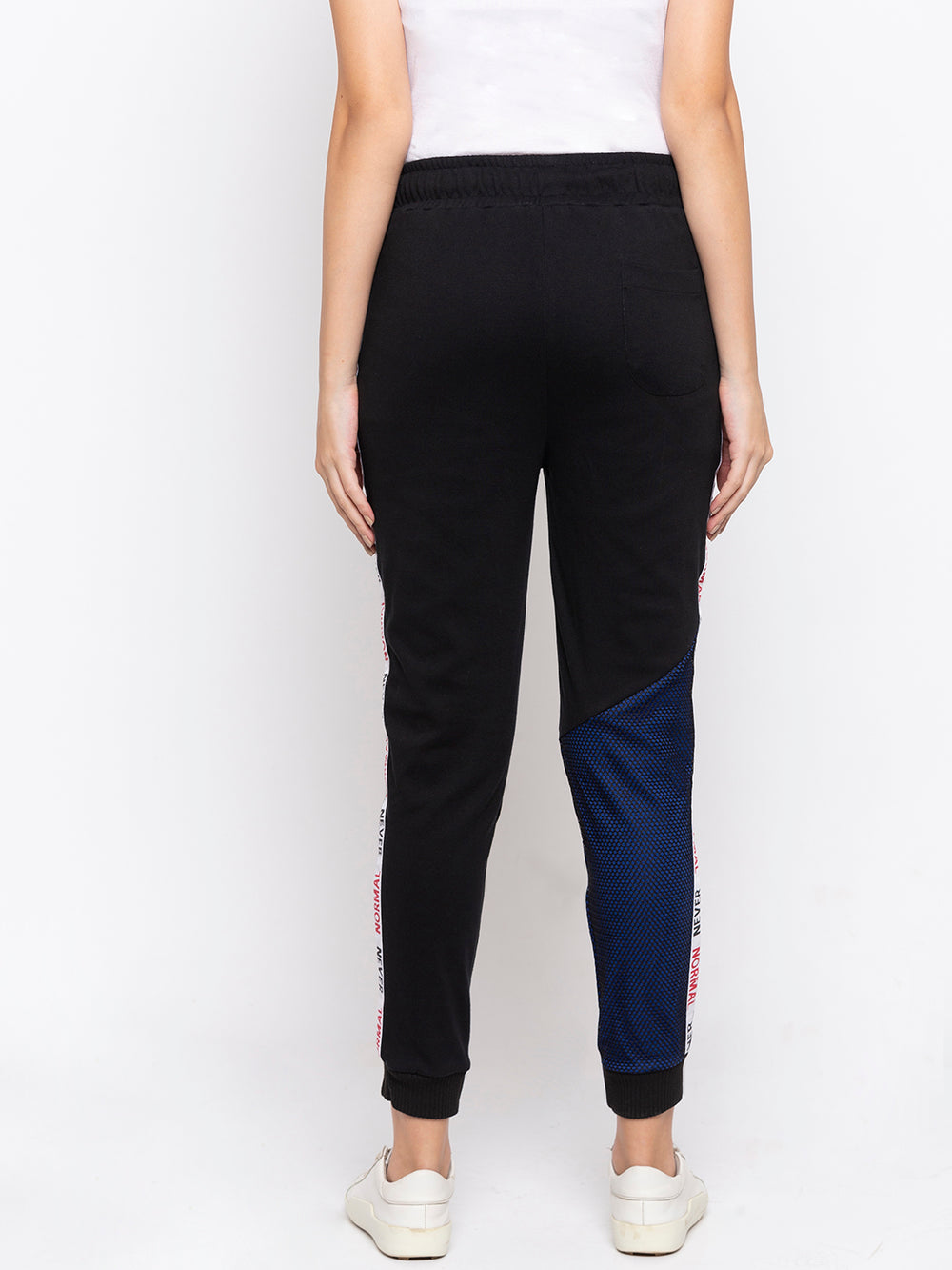 Black Mesh Panelled Never Normal Taped Regular - Fit Joggers