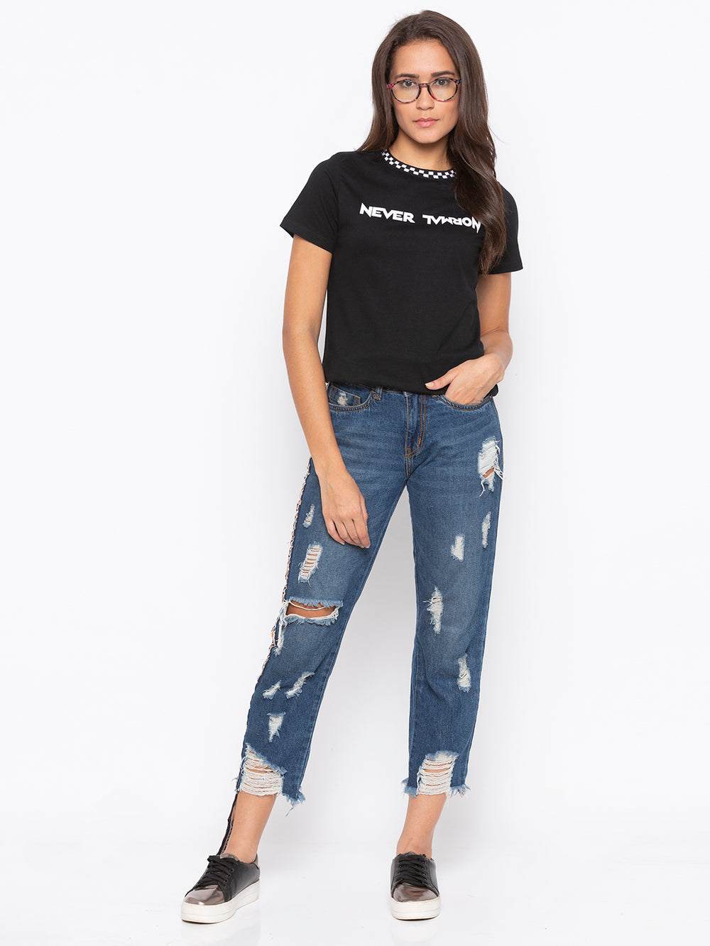 Black Never Normal Print Regular Fit T-shirt For Women's