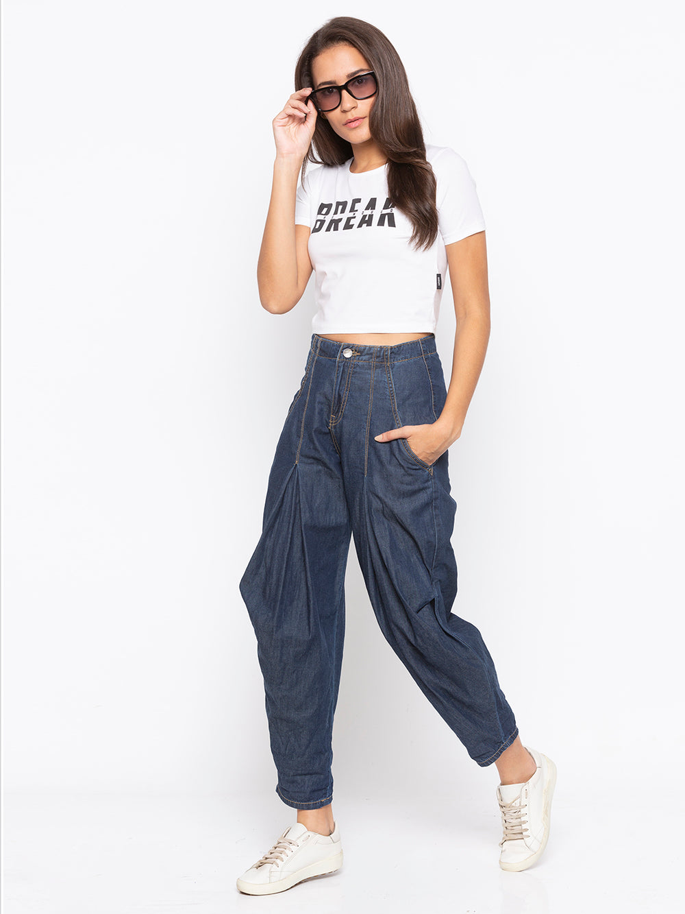 White Break Print Regular Fit Crop Top