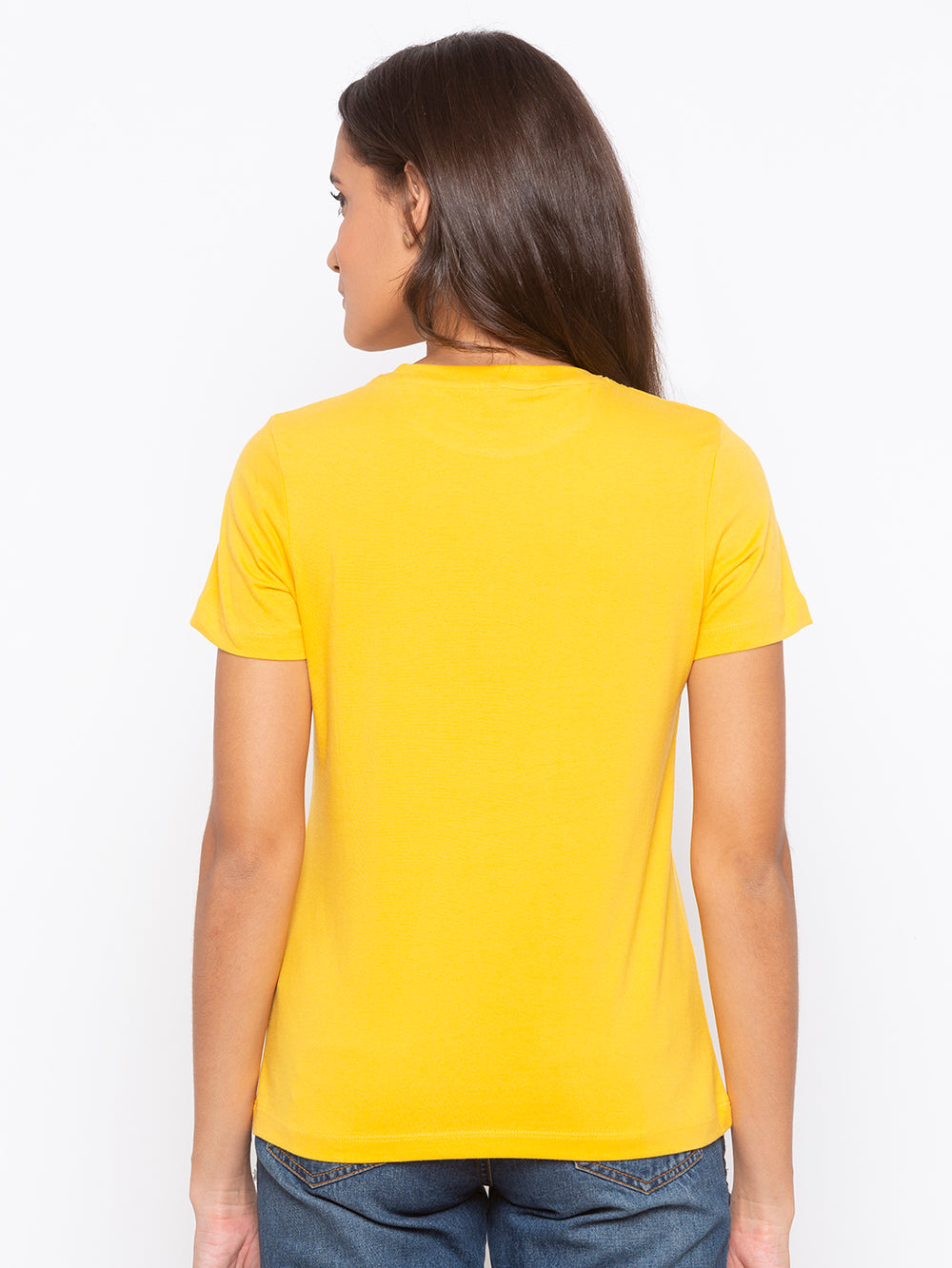 Yellow UNFOLLOW The Herd Print Cotton T-shirt For Women's