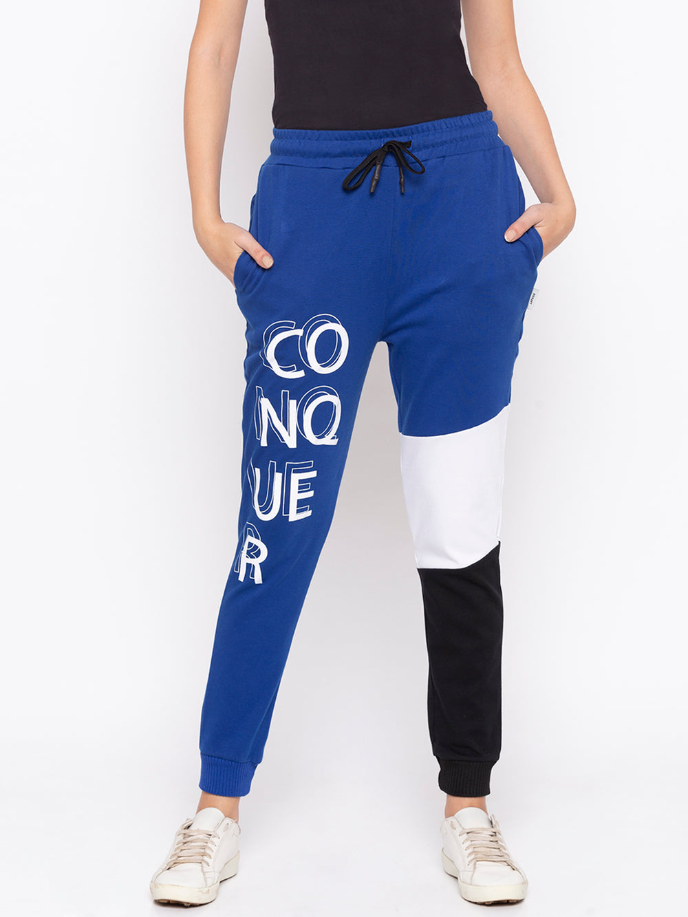 Blue Conquer Graphic Print Regular-Fit Joggers