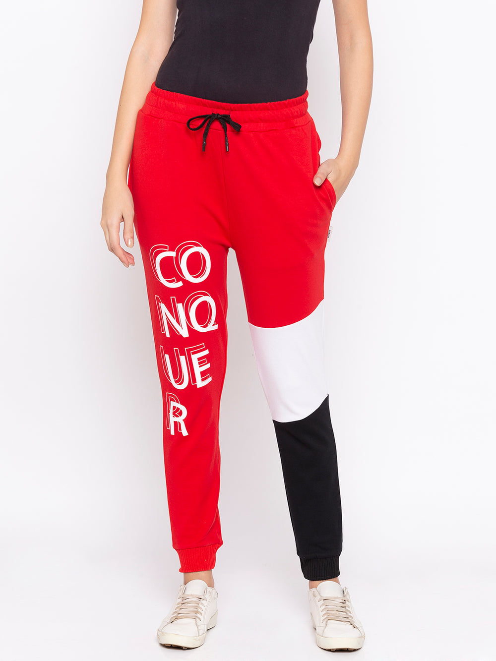 Red Conquer Graphic Print Black N White Patterned Regular-Fit Joggers