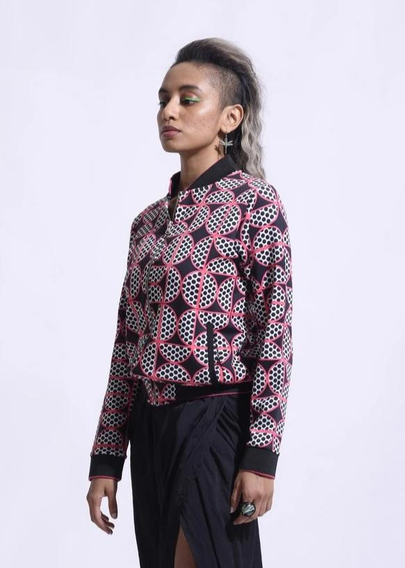 Black All Over Printed Bomber Jacket