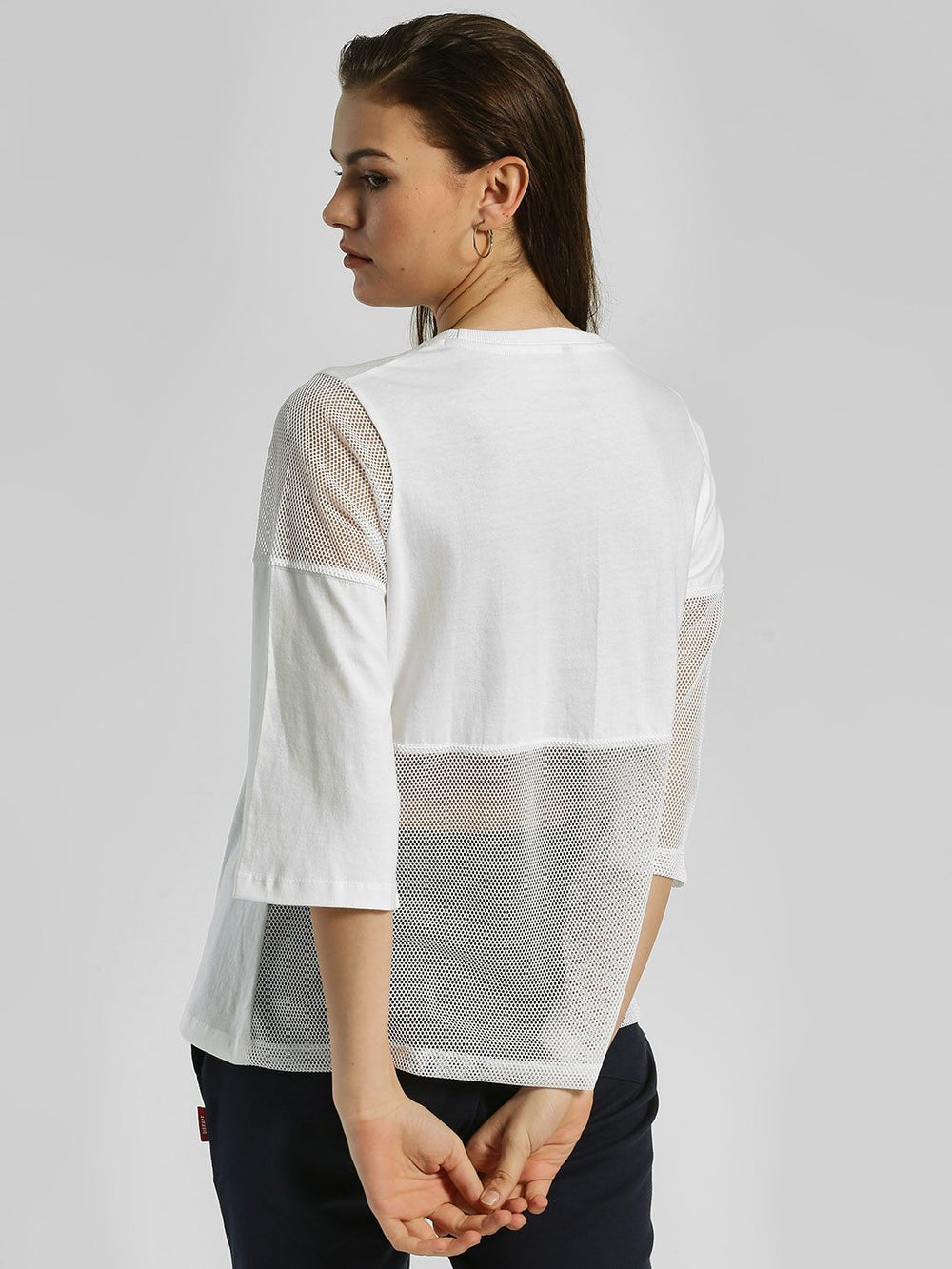 White Cotton N Mesh Loose Fit T-shirt