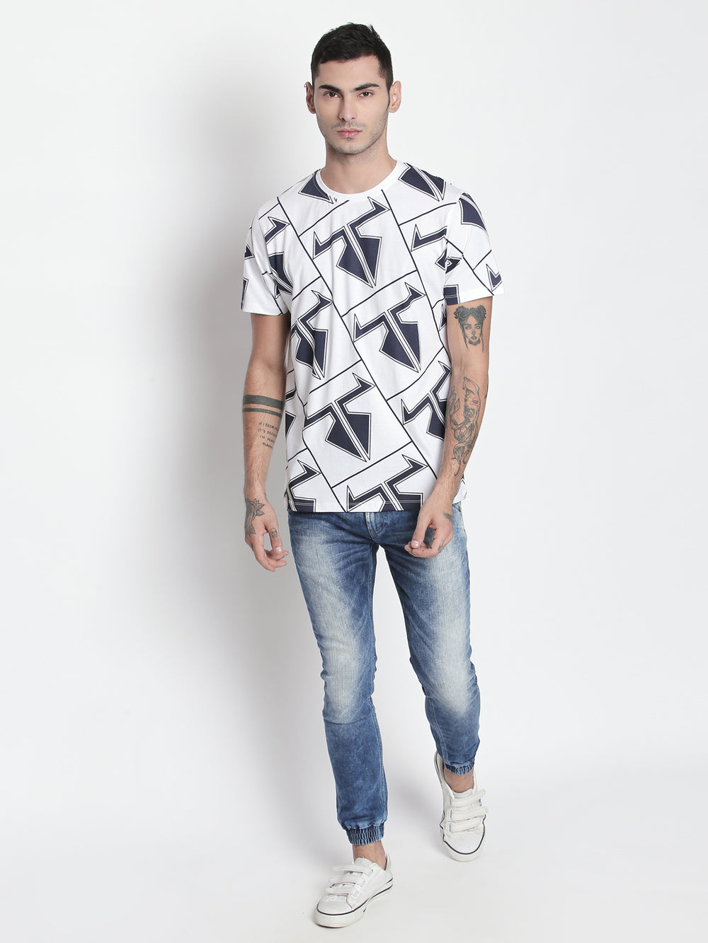 Disrupt White Round Neck Half Sleeve T-shirt For Men