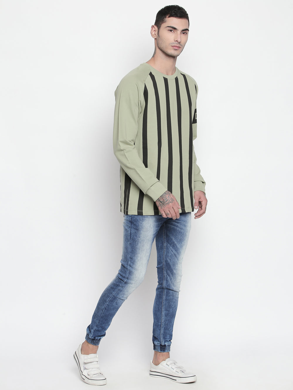 Disrupt Light Olive Round Neck Full Sleeve T-shirt For Men