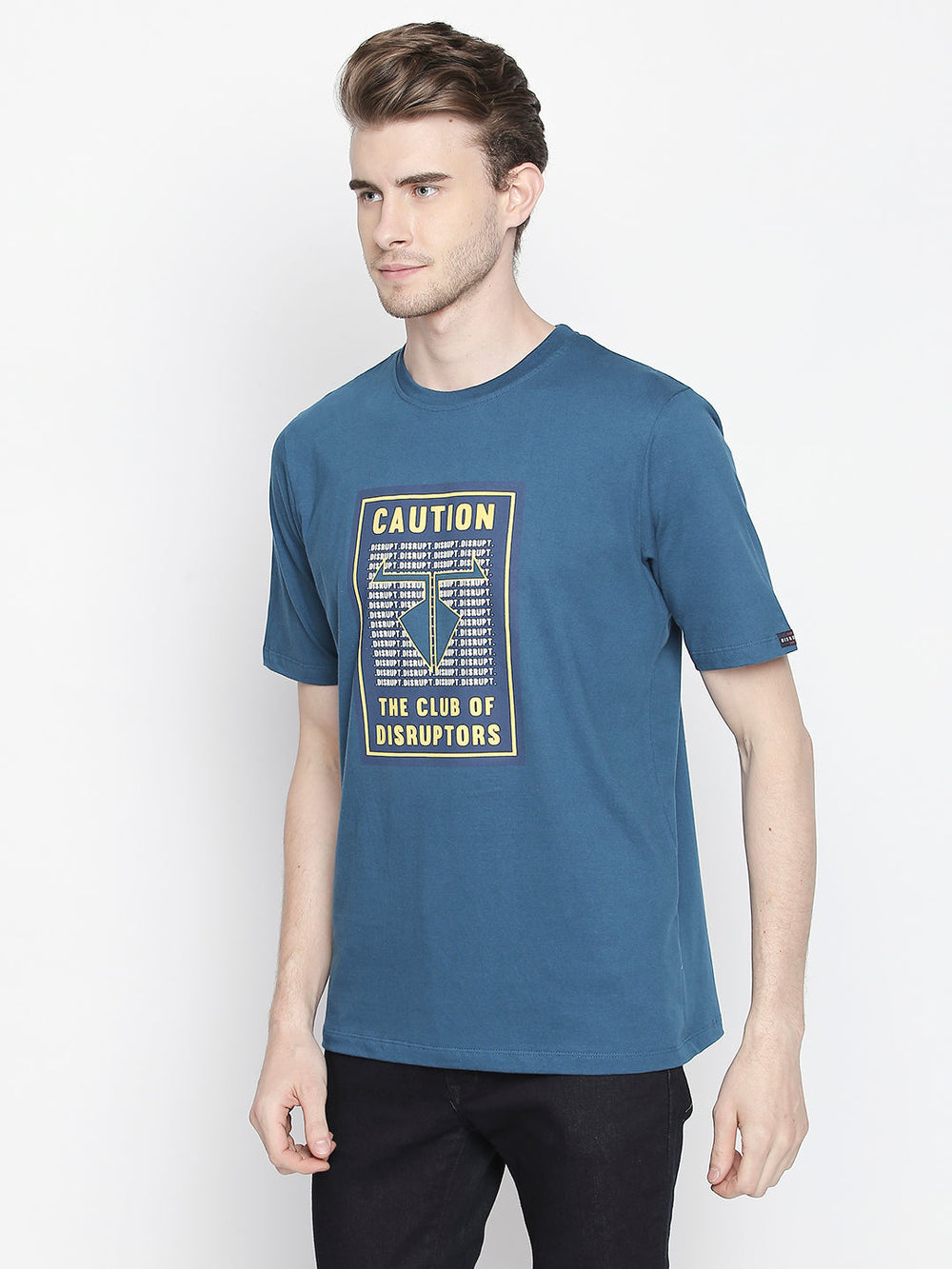 Blue Caution Print Half Sleeve Cotton T-Shirt